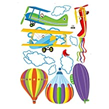 SODIAL(R) Removable Cartoon Airplane and Hot Air Balloons Wall sticker decals Nursery Kids Room Home Decoration