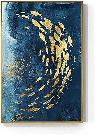 QAZZ Peinture suspendue Abstraites Or Poissons Chinois Sur ...