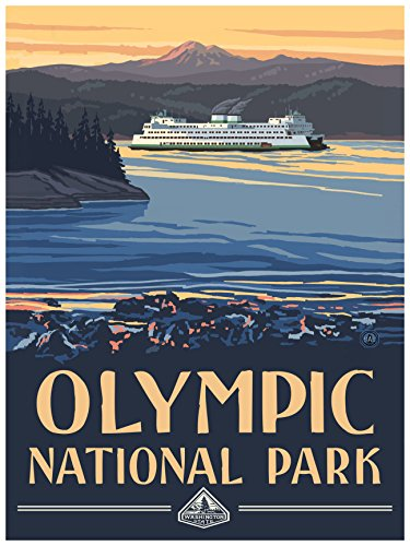 (Olympic National Park Ferry Travel Art Print Poster by Paul A. Lanquist (18