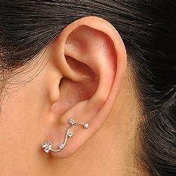 925 Sterling Silver Sparkling Purple Swarovski Crystal Flower Vine Cuff Earrings
