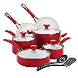 Premium Cookware Set Ceremic Nonstick 12 Piece, PFOA-, PTFE- and cadmium-free, Red