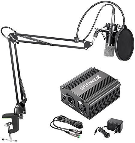 Neewer NW700 Kit de Microphone à Condensateur avec Micro Noir 48V Alimentation Fantôme NW35 Support de Bras avec AntiChoc et Filtre Pop XLR Câble Mâle à Femelle put Enregistrement