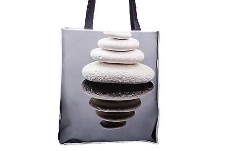 Piedra, Zen, color blanco, Spa, Rock Allover impresa bolsos ...