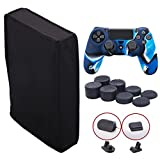 9CDeer Soft Neoprene Dirt Dust Protective Cover Black for PS4 PRO Vertical Version + 1 Piece Controller Silicone Cover camouflage blue + 2 Pieces Controller Dust Proof Plugs + 8 Pieces Thumb Grips