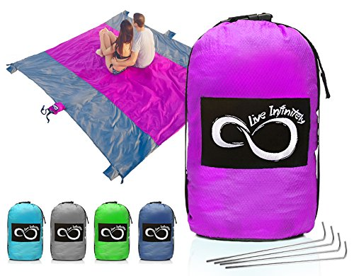 Sand Free Compact Outdoor Beach / Picnic Blanket- Huge-9' x 10' For 7 Adults- Best Mat For Festivals & Hiking-Very Soft & Quick Drying Ripstop Nylon- 5 Weightable Pockets (Purple Middle)