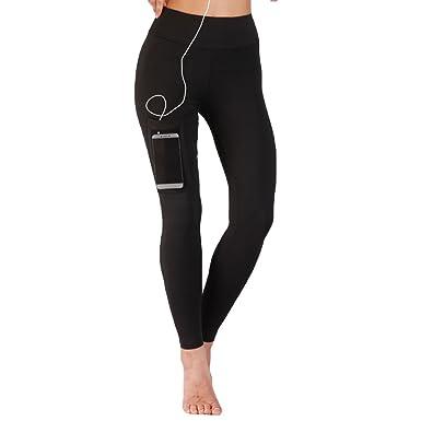 Yiiquanan Legging Sport Femme Serré Pantalon Yoga avec Poche Taille Haute  Amincissant Séchage Rapide (Noir f2f6008811f