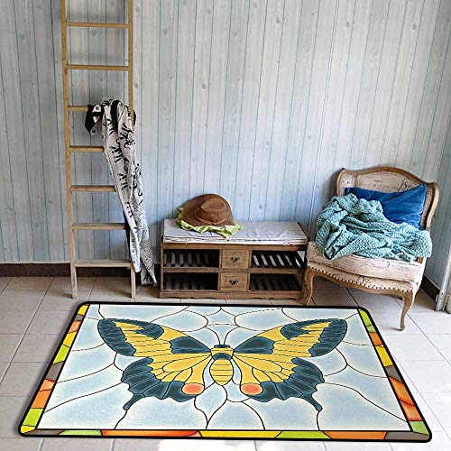 - Children's Rugs Playrug Rugs Butterflies Butterfly in Stained Glass Window with Frame Wing Spring Garden Illustration Anti-Fading W67 xL102 Multicolor