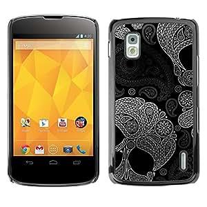 Caucho caso de Shell duro de la cubierta de accesorios de protección BY RAYDREAMMM - LG Google Nexus 4 E960 - Indian Floral Pattern Death Deep