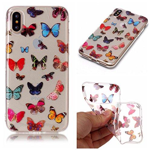 iPhone X Hülle, Modisch Farbe Schmetterling Transparent TPU Silikon Schutz Handy Hülle Handytasche HandyHülle Etui Schale Schutzhülle Case Cover für Apple iPhone X
