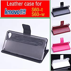 Cell Buddy Lenovo S60 S60-t S60-w case cover, Good Quality Leather Case Wallet + hard Back cover For Lenovo S 60 cellphone --- Color:Brown
