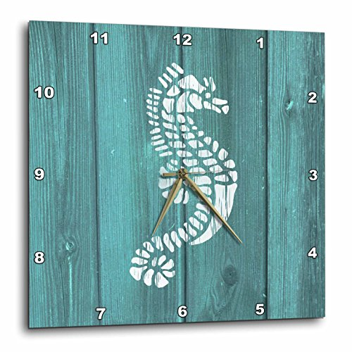 3dRose Photo of Seahorse Painted White on Aqua Painted Wood- Not Real Wood - Wall Clock, 13 by 13-Inch (dpp_220432_2) ()