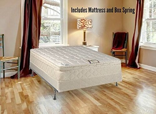 Euro Top Set (Continental Sleep Plush Quilted Euro Top Orthopedic Ultimate 10-Inch Mattress and 8-Inch Box Spring, Full, White)