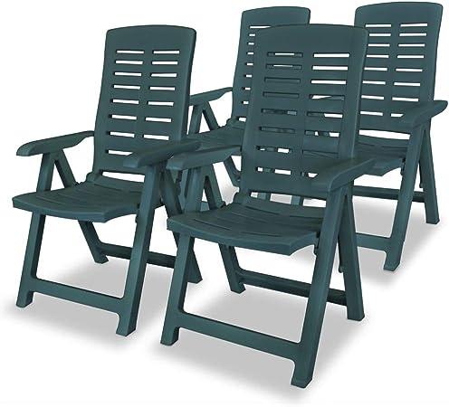 vidaXL 4X Chaise Inclinable de Jardin Plastique Vert Meuble Chaise  d\'Exterieur
