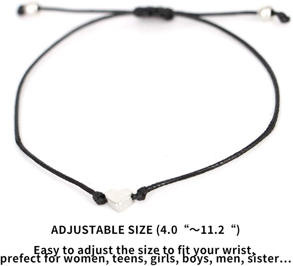 ORVINNER Pinky Promise Bracelets Distance Matching Bracelets for Best Friend Couple Family Adjustable Handmade Cord Friendship Bracelets for Women Teen Girls Mother