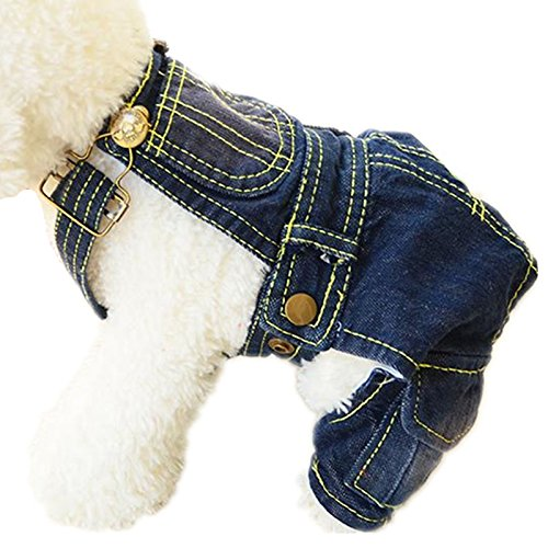 Tromy Pet Jean Clothes Dog Denim Overall/Poloshirt 2 Styles 5 Sizes S1,XS by Tromy (Image #3)