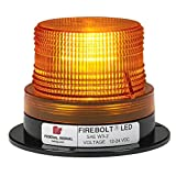 Federal Signal 220260-02 Firebolt LED Beacon, Class 2, Magnet Mount with Cigarette Plug and Amber Dome