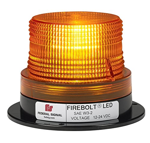 Federal Signal 220250-02 Firebolt LED Beacon, Class 2, Permanent Mount with Amber Dome