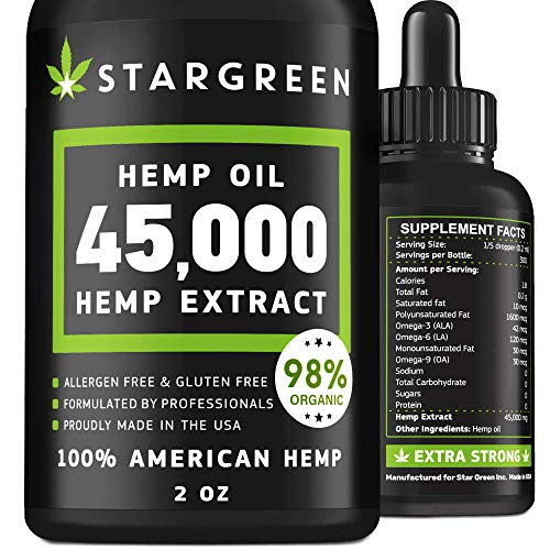 - Hemp Oil for Pain Relief - 45000 MG - Vitamin D, E & Omega 3, 6, 9 - All Natural Pain, Anxiety & Stress Relief - Made in USA - Anti-Inflammatory, Hip & Joint Support - Provides Natural Calm Sleep