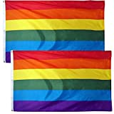 2 Pack SUNYAO Rainbow Flag 3 x 5 Foot LGBT Pride Flags Lesbian Gay Parade Flags - 100% Super Polyester Material with Two Brass Grommets