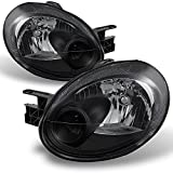 For Dodge Neon OE Replacement Black Bezel Headlights Driver/Passenger Head Lamps Pair New