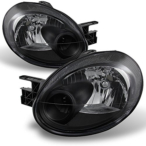 (For Dodge Neon OE Replacement Black Bezel Headlights Driver/Passenger Head Lamps Pair New)