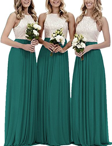 Long Chiffon Bridesmaid Dresses Lace Bodice Prom Evening Gowns Wedding Party Formal Gowns Peacock US 20W