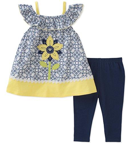 Kids Headquarters Toddler Girls' Tunic Set-Sleeveless, Blue/Light Yellow, 4T