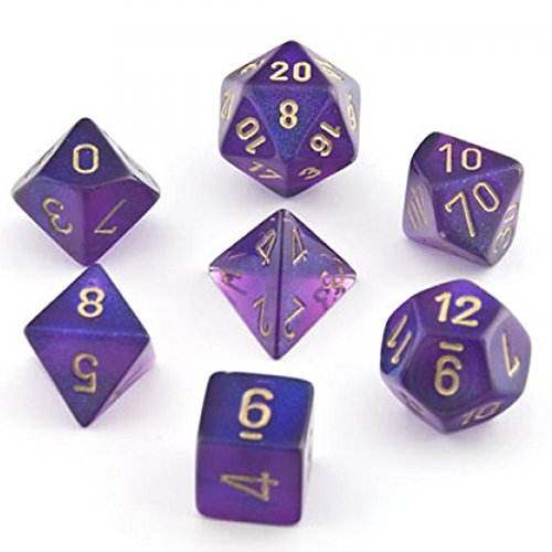 - Chessex Borealis Royal Purple With Gold Polyhedral 7 Die Set