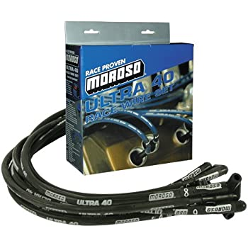 Moroso Spark Plug Wire Set 73709; Ultra 40 Race Wire 8.65mm Black for Chevy SBC
