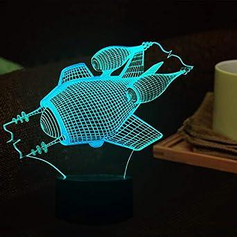 Luces de noche submarinas 3D Lámpara de visión estéreo LED 7 ...