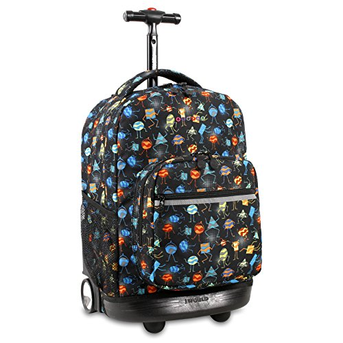 J World New York Sunrise Rolling Backpack, Party Mobs -