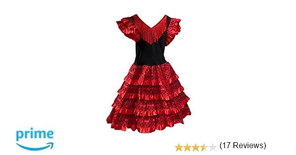 Vestido Flamenco Disfraz Sevillanas Rosa Rojo Topos (Rojo, 0-1 ...
