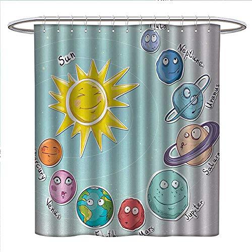 Anniutwo Space Shower Curtains Sets Bathroom Cute Cartoon Sun and Planets of Solar System Fun Celestial Chart Baby Kids Nursery Theme Fabric Bathroom Decor Set with Hooks W36 x L72 Multi