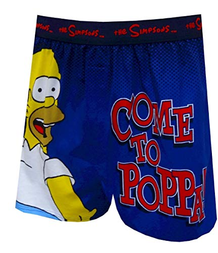 Briefly Stated Men's Homer Simpson Come to Poppa Boxer Shorts (Small) Navy