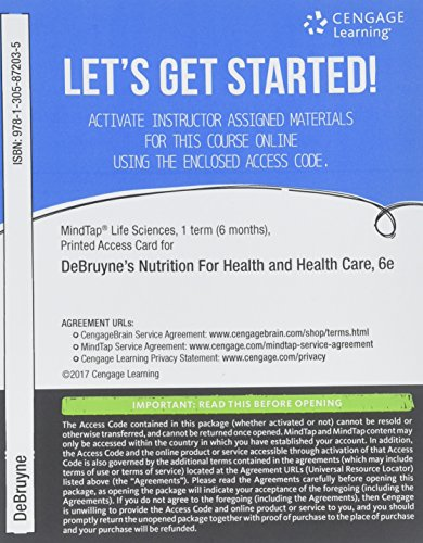 MindTap Nutrition, 1 term (6 months) Printed Access Card for DeBruyne/Pinna's Nutrition for Health and Health Care, 6th