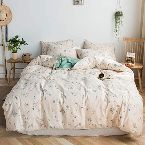 HIGHBUY Girls Floral Duvet Cover Full Cotton Reversible 3 PC Bedding Duvet Cover Set Queen for Children,Lightweight Soft Cotton Comforter Cover with Zipper Ties,Flowers Bedding Collection Queen