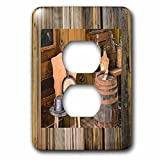 Florene Country Living - Image of Cowboy Hat And Banjo Sit On Weathered Wood - Light Switch Covers - 2 plug outlet cover (lsp_234470_6)