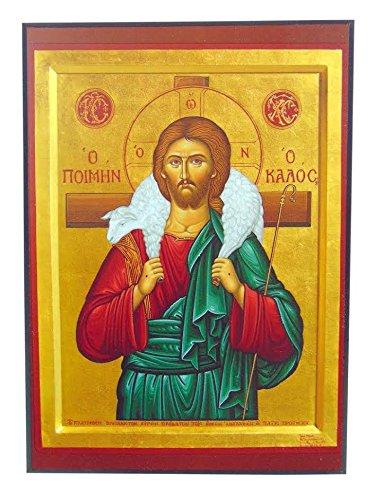 Jesus Christ The Good Shepherd Orthodox Wooden Byzantine Icon Replica