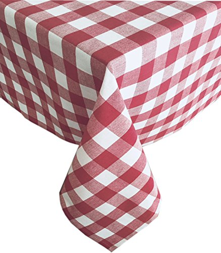 Buffalo Check Indoor/Outdoor Cotton Tablecloth - Cottage Style Gingham Check Pattern Tablecloth - 60 x 102 Oblong/Rectangular, (Burgundy Gingham)