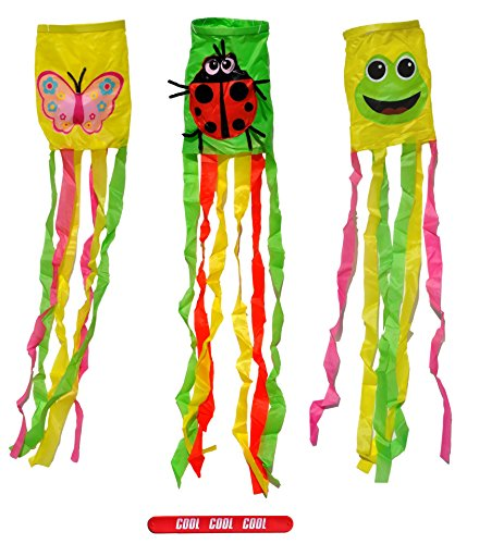 Set of 3 Wind Sock Decorative Outdoor House Spring Frog Ladybug Butterfly Spring Garden Flag Set Top Best Easter Basket Stuffer Gift Idea for Her Mom Women Mother in Law with COOL Slapstick