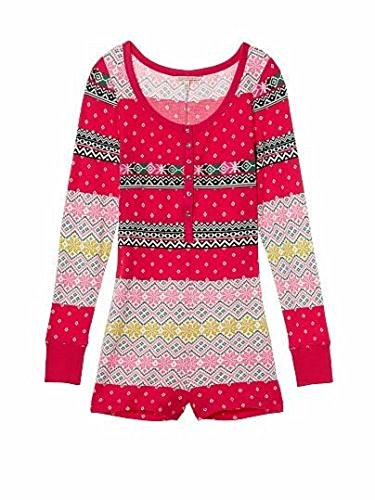 nwt victorias secret fireside fairisle thermal romper onesie pajamas s m l e6f00de23