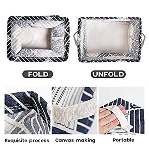 Small Foldable Storage Basket Canvas Fabric Waterproof Organizer Collapsible and Convenient for Nursery Babies Room 100% Cotton with Handle (Blue White)