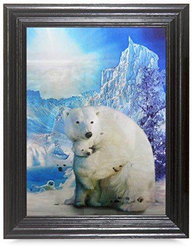 POLAR BEAR FRAMED Holographic Wall Art-POSTERS That FLIP and CHANGE images-Lenticular Technology Artwork--MULTIPLE PICTURES IN ONE--HOLOGRAM Images Change--by THOSE FLIPPING PICTURES (Polar Bear Pictures)