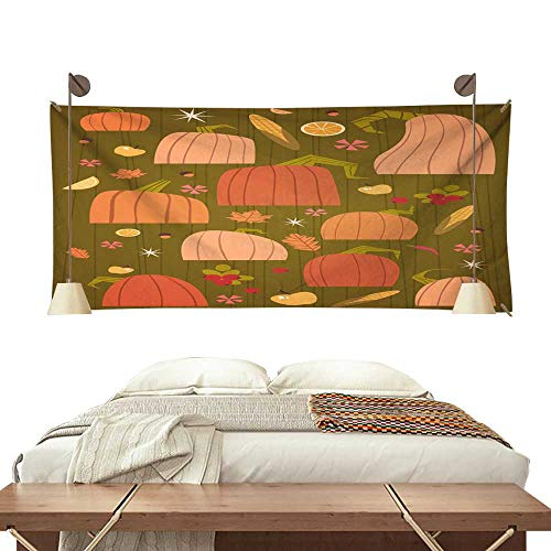 BlountDecor Gorgeous Tapestry Pumpkins Set Harvest Autumn Concept Vegetables and Fruits Collection 91W x 60L Inch