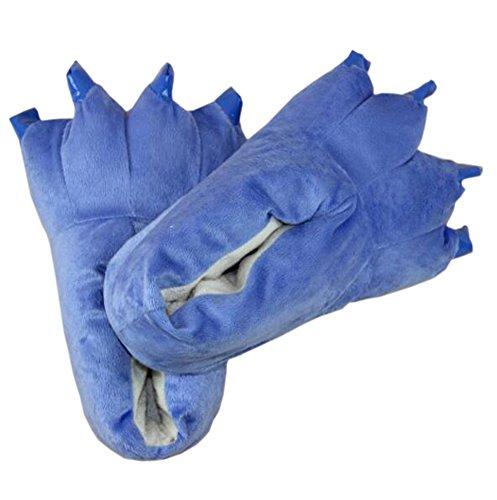 Magicmode Costume Pantofole Casa Artiglio Caldo Unisex Morbido Zampa Animal Scarpe Cosplay Peluche Blu vYrpvwq