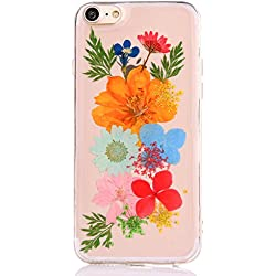 Pretty Flower Case for iPhone 7, TIPFLY iPhone 8 Daisy Floral Real Pressed Dry Flowers Cover, Slim Cute Clear Flexible Rubber Shell Protective for iPhone 7/8 (Real flower #7)