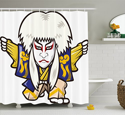 Ambesonne Kabuki Mask Shower Curtain, Character with Kimono Costume Orient Elements Edo Era Arts Theater Play Print, Fabric Bathroom Decor Set with Hooks, 105 Inches Extra Wide, (70's Era Costume Ideas)