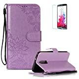 Funyye PU Leather Wallet Case for LG Q7 Free HD Protector,Premium Lace Flower Pattern Magnetic Flip with Cash Pouch Card Slot Design Cover for LG Q7,Purple