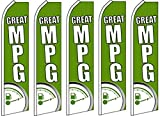 5 Swooper Flutter Feather Flags GREAT MPG Gas Meter Green White