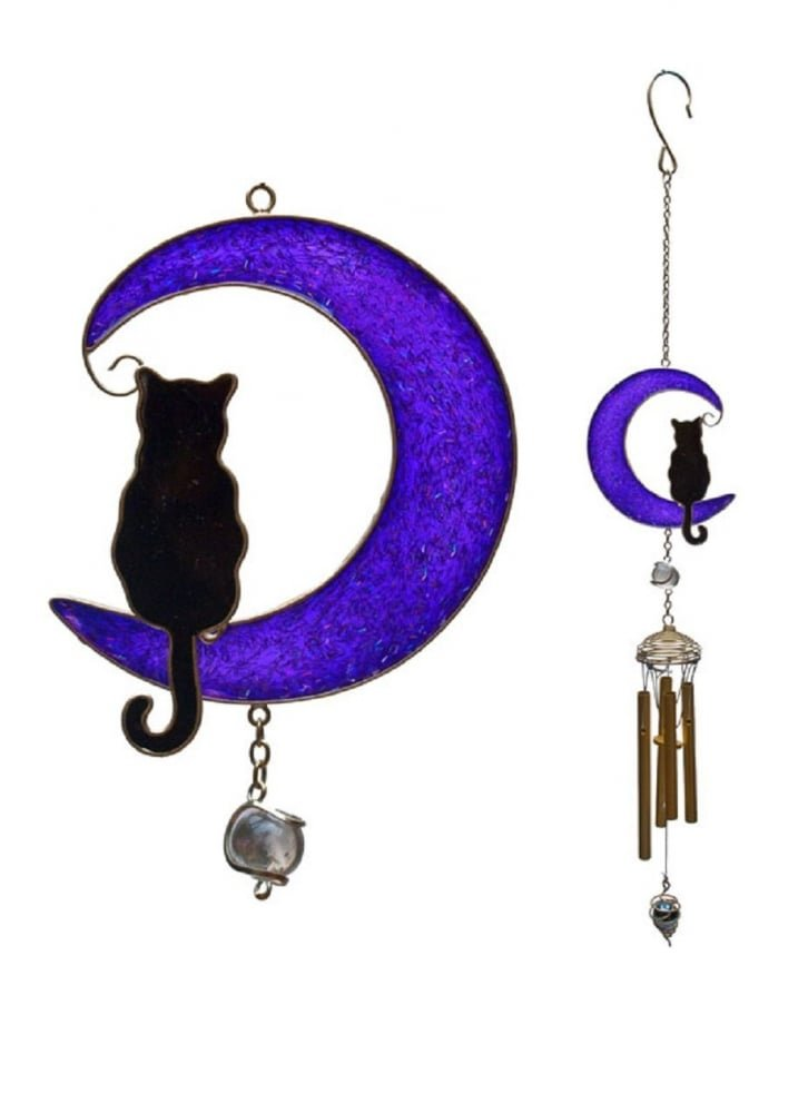 Black cat on purple moon stained glass style windchime Large 80cm Something Different